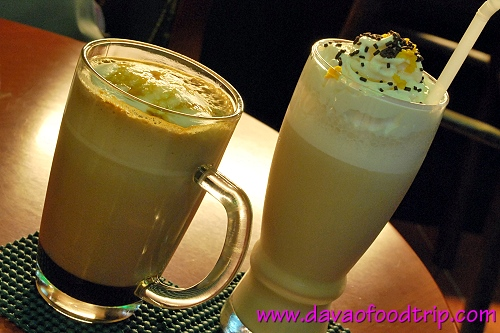 Coffee For Peace (Davao): Cifra ala Mode (right, their winning concoction in 2007) and Cafe Caramel Mocha Hot Latte (left)