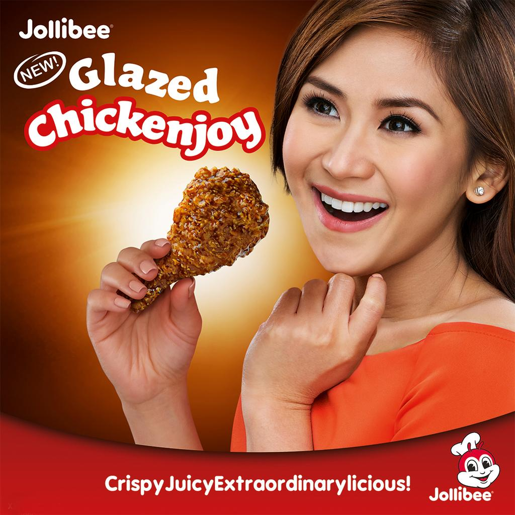 Sarah Geronimo with Glazed Chickenjoy image from Jollibee